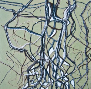 Medium: Spun polyester thread on wooden board